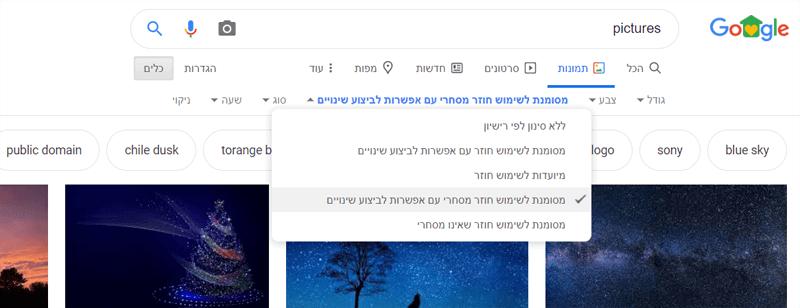 תמונת מסך של חיפוש תמונות בגוגל