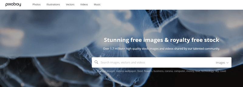 Pixabay תמונת מסך מדף הבית לחיפוש תמונות